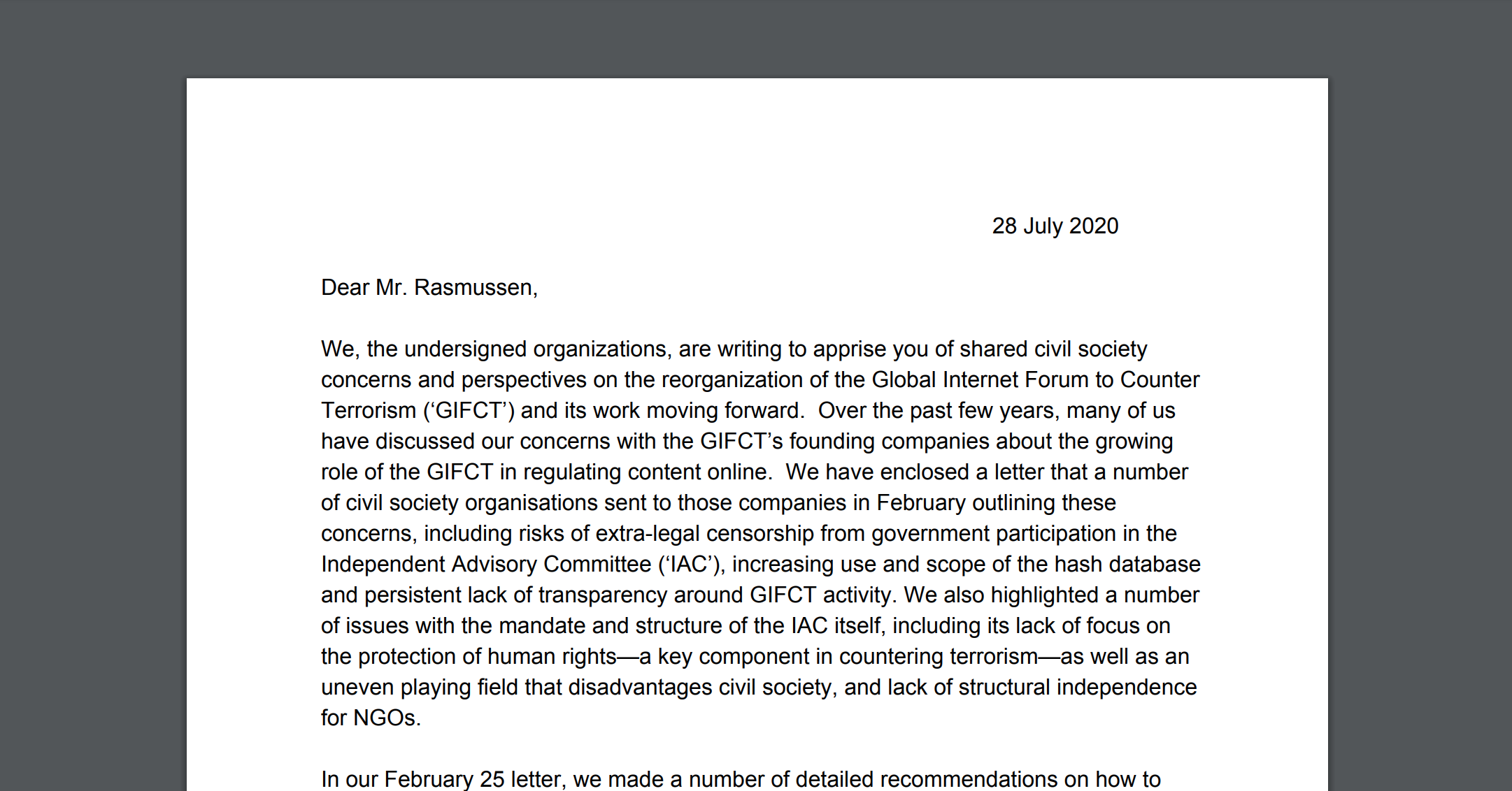 Human Rights NGOs in Coalition Letter to GIFCT