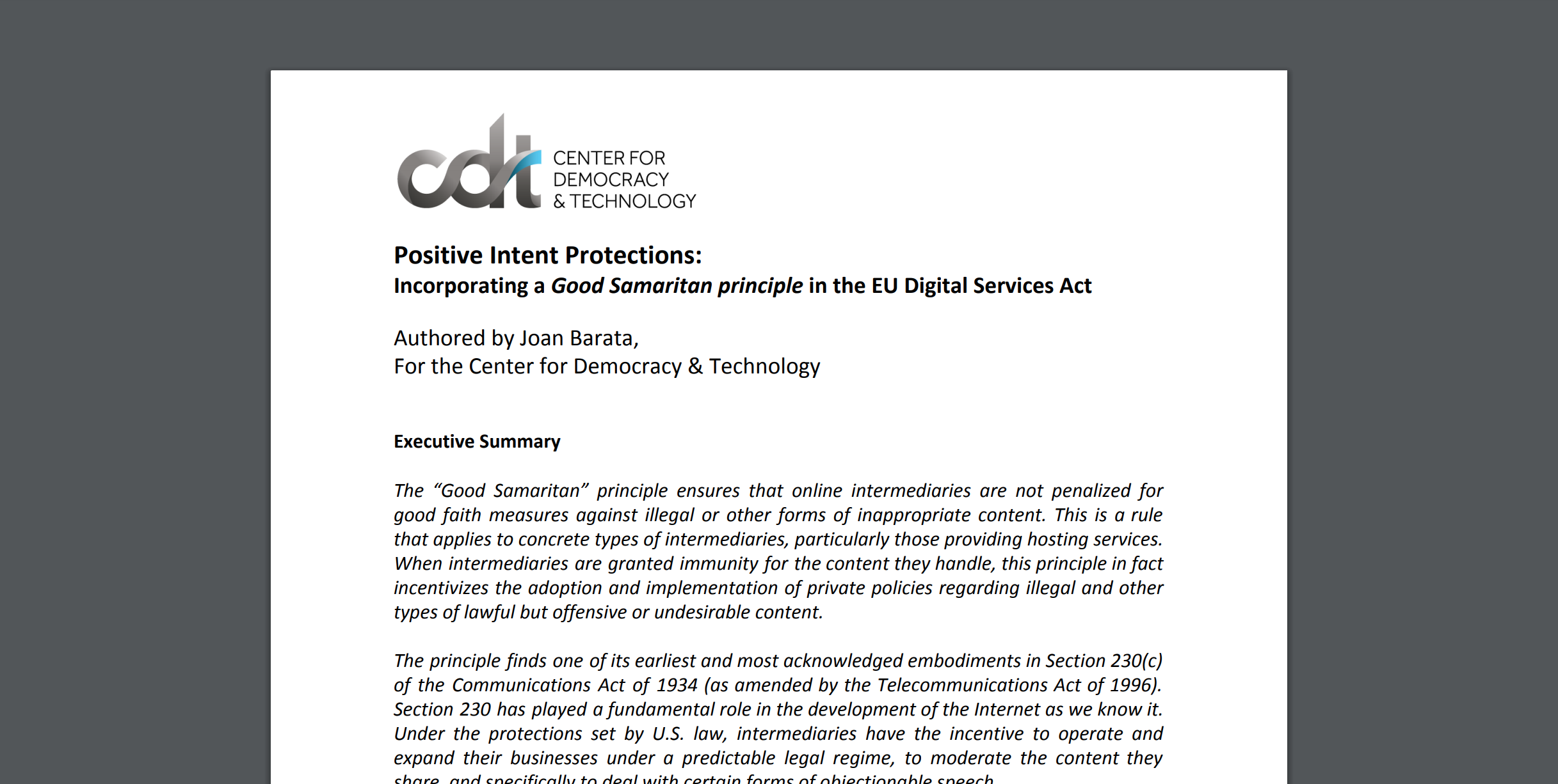 Positive Intent Protections Incorporating A Good Samaritan Principle In The Eu Digital Services Act Center For Democracy And Technology