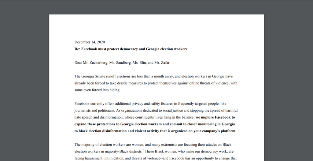 CDT Joins Open Letter Urging Facebook to Extend Journalist and Politician Protections to Elections Workers in Georgia