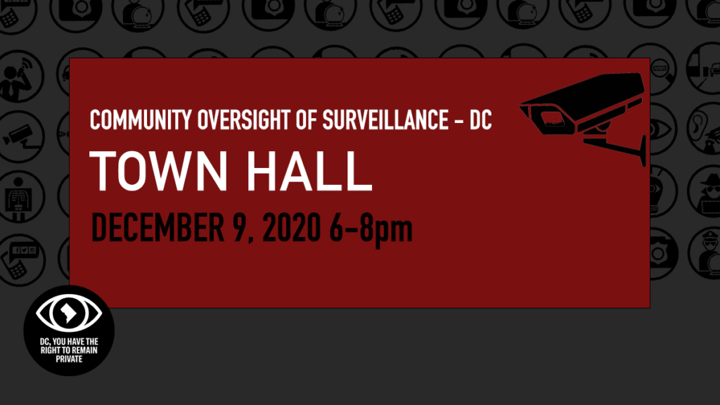 Community Oversight of Surveillance DC COS-DC Town Hall December 9 2020