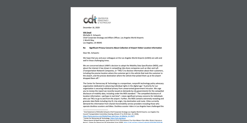 Letter from CDT to LAWA Regarding Compelled Disclosure of Airport Visitor Data, 12-16-2020