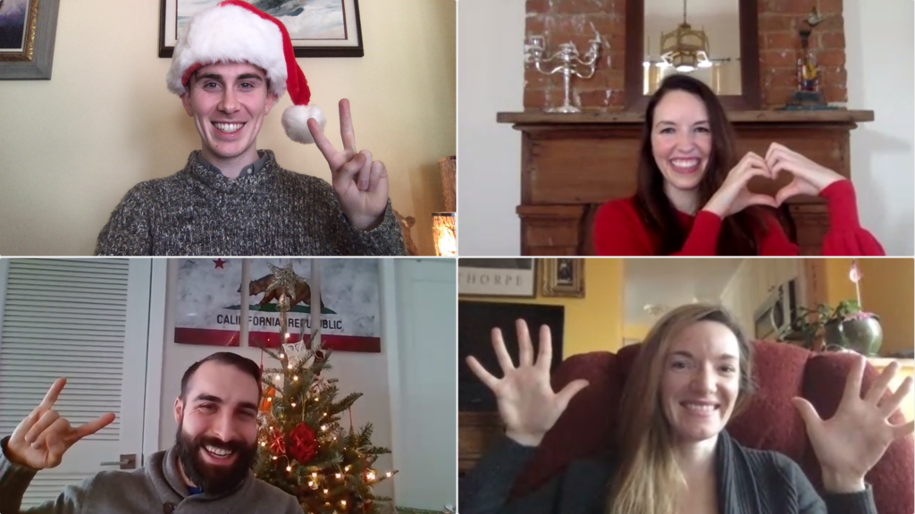 The Student Privacy team sends its holiday greetings over a video call with peace, love, and rock n roll… and jazz hands! From left to right, top to bottom: Hugh Grant-Chapman, Elizabeth Laird, Cody Venzke, Hannah Quay-de la Vallee.