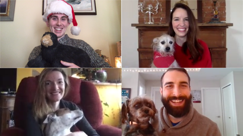 Hugh, Elizabeth, Hannah and Cody are joined by their pets on video. From left to right, top to bottom: Hugh Grant-Chapman, Elizabeth Laird, Hannah Quay-de la Vallee, and Cody Venzke.