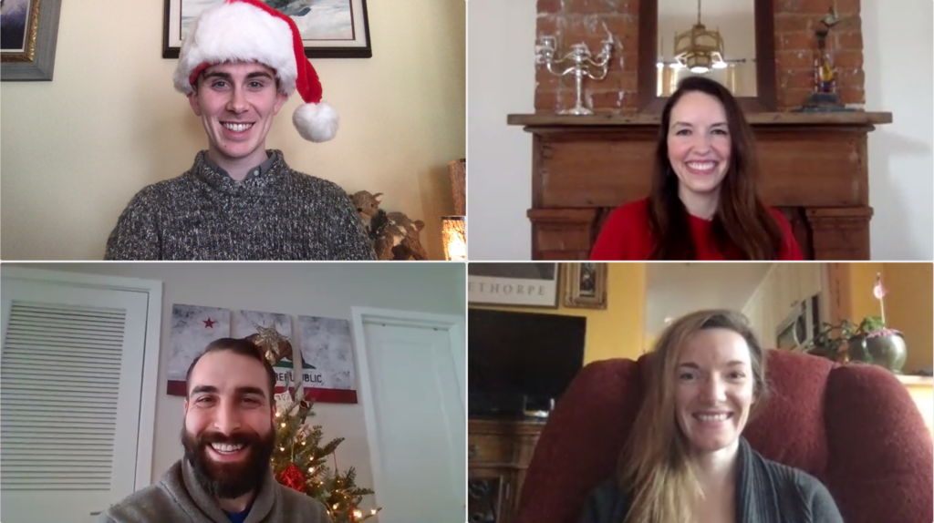 The Student Privacy team virtually sharing their holiday decor. From left to right, top to bottom: Hugh Grant-Chapman, Elizabeth Laird, Cody Venzke, Hannah Quay-de la Vallee.