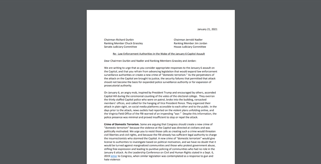 CDT Leads a Sign-on Letter on Law Enforcement Authorities in the Wake of the January 6th Capitol Assault