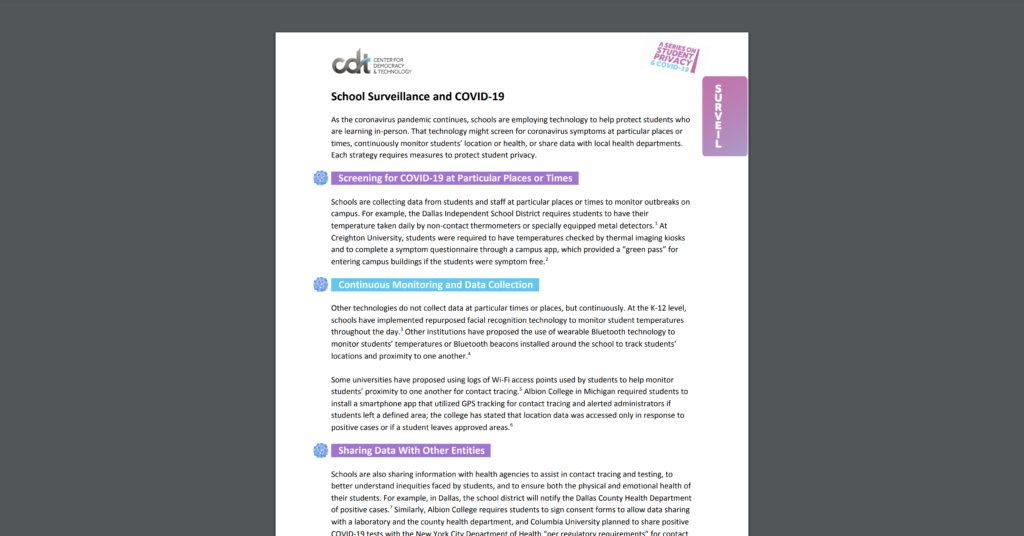 CDT Student Privacy 2 pager on School Surveillance and COVID-19