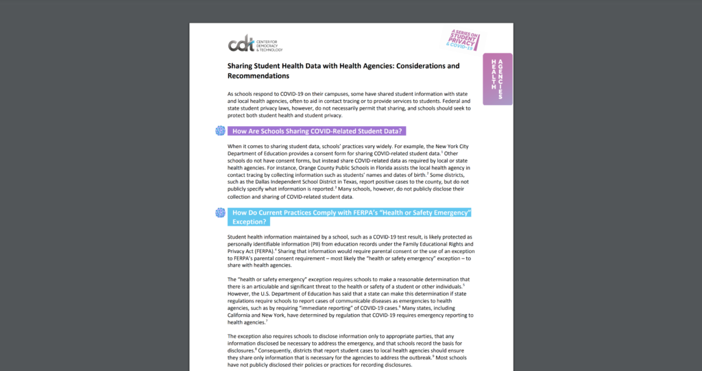 CDT Student Privacy 2 pager on Sharing Student Health Data with Health Agencies