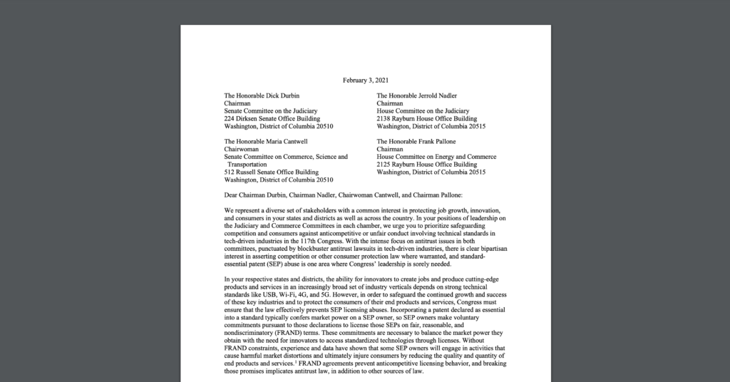 CDT Joins Letter to Congress on Standard Essential Patents SEP Abuses