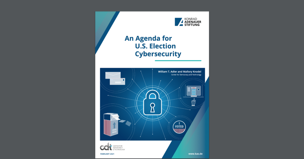 "Screenshot of CDT's report, entitled ""An Agenda for U.S. Election Cybersecurity"""