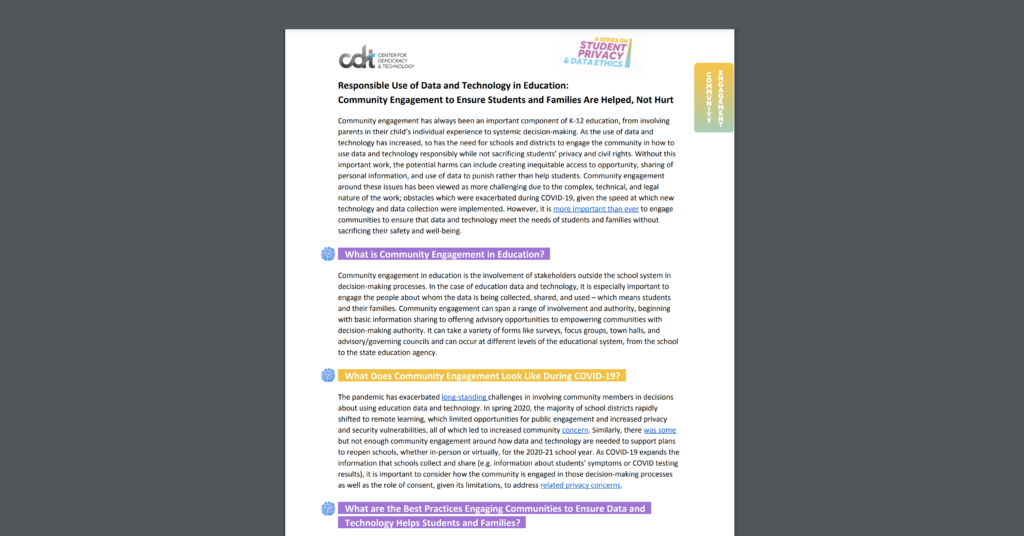 Screen Shot of CDT's Two Pager on Responsible Use of Data and Technology in Education: Community Engagement to Ensure Students and Families Are Helped, Not Hurt