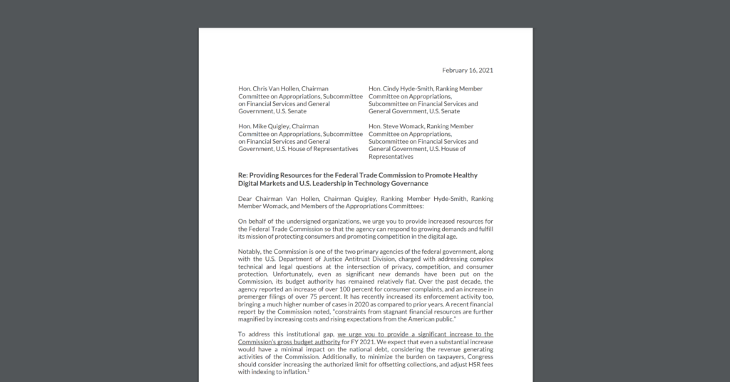 Screenshot of Bipartisan Coalition Letter CDT Joined Asking Congress to Provide FTC More Resources for Expert Staff