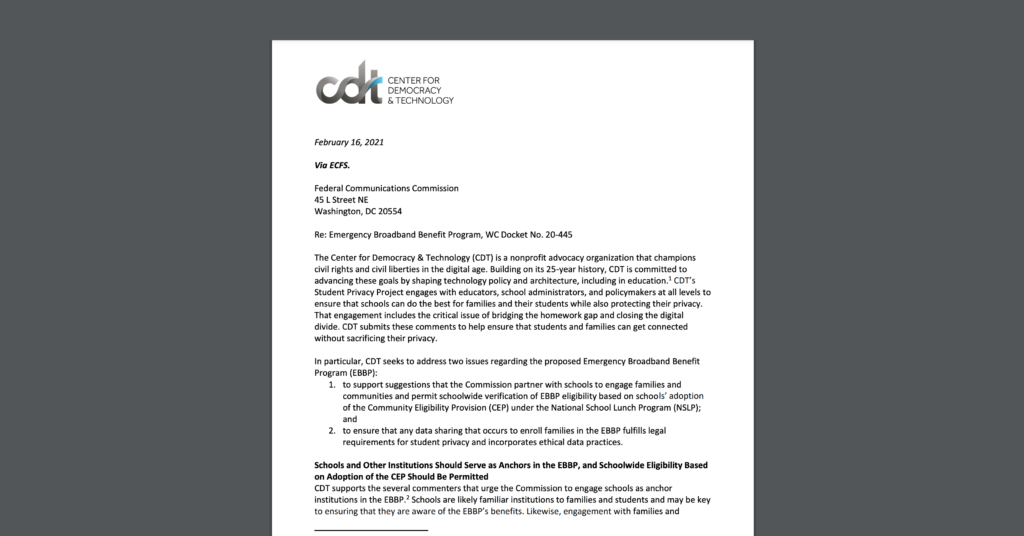 Screen Shot of CDT's Reply Comment to the FCC on Student Privacy in the Emergency Broadband Benefit Program