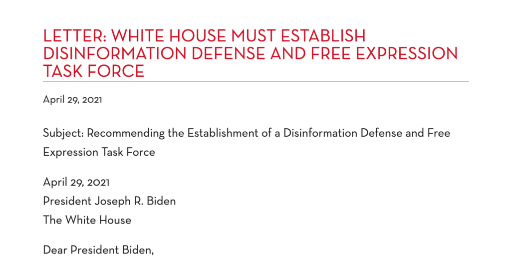 Screen Shot of PEN America Letter to the White House Urging the Establishment of a Disinformation Defense and Free Expression Task Force