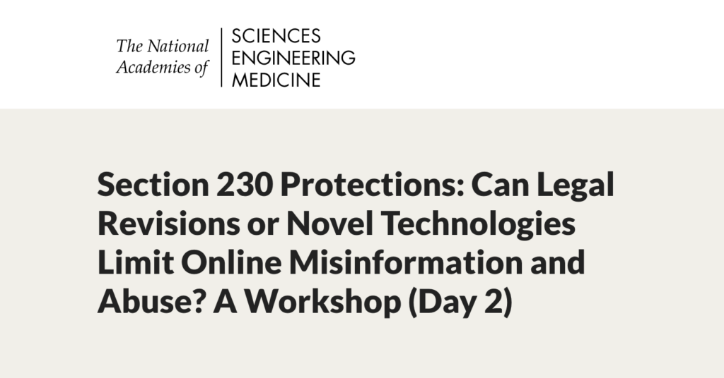 "Screen Shot of the NASEM event on April 27, 2021, ""Section 230 Protections: Can Legal Revisions or Novel Technologies Limit Online Misinformation and Abuse?"""