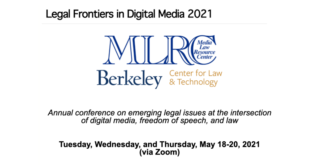 """Event by the Media Law Resource Center on May 18, 2021, entitled """"Content Moderation in an Age of Disinformation."""""""