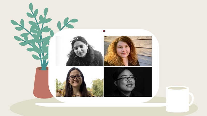 Image source: University of Oregon. Panelists at the disability studies forum are (clockwise from upper left): Day Al-Mohamed, Anais Keenon, Lydia X. Z. Brown, and Sofia Webster.