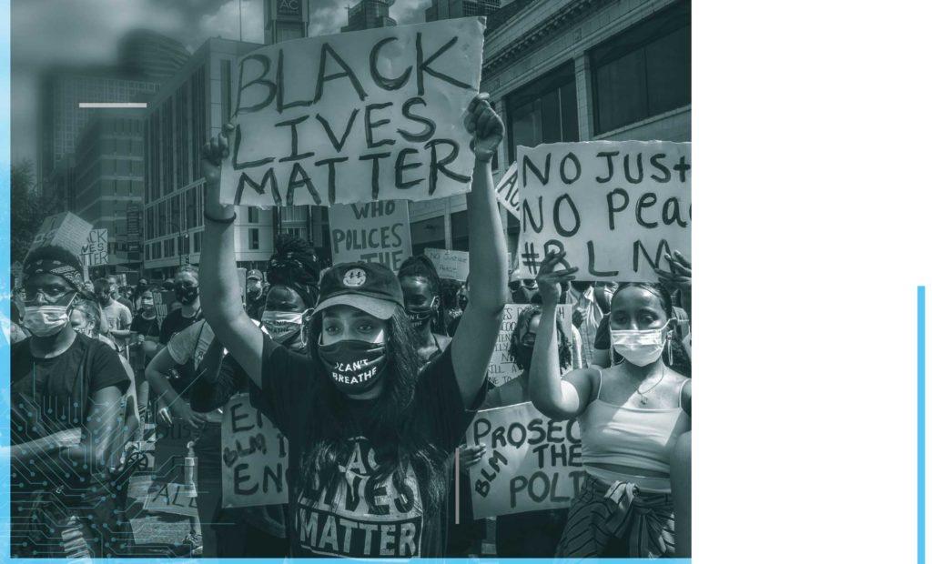 "Image of protestors holding up signs, including messages like ""Black Lives Matter"" and ""No Justice No Peace #BLM"". Original image © KEREM YUCEL / AFP via Getty Images."