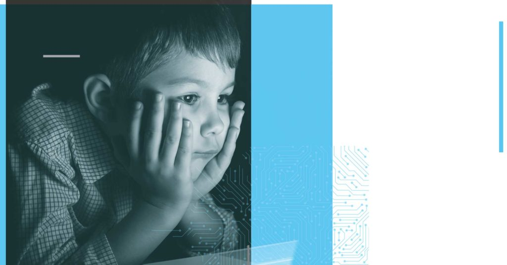 """Image of a child in front of a glowing screen, overlaid with a graphic of a circuit. This image is a part of CDT's 2020 Annual Report, in a highlight called """"Fighting for Human Rights in the COVID Crisis."""""""