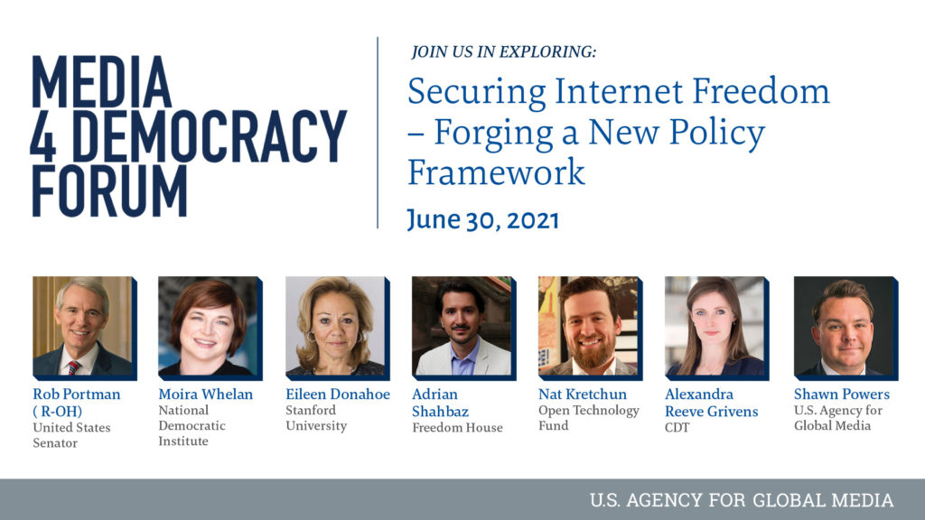 """CDT CEO Alexandra Givens speaks at the 2021 Media for Democracy Forum's session entitled """"Securing Internet Freedom; Forging a New Policy Framework."""""""