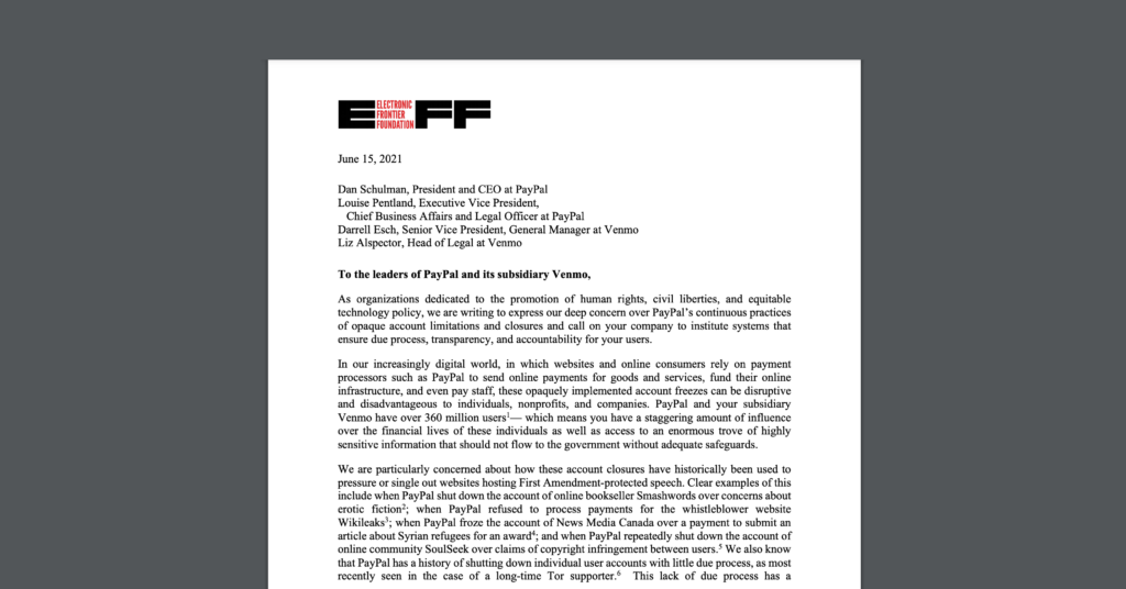 Screenshot of a letter, with CDT joining EFF and 50+ other organizations in telling PayPal and Venmo to shape up their policies on account closures.