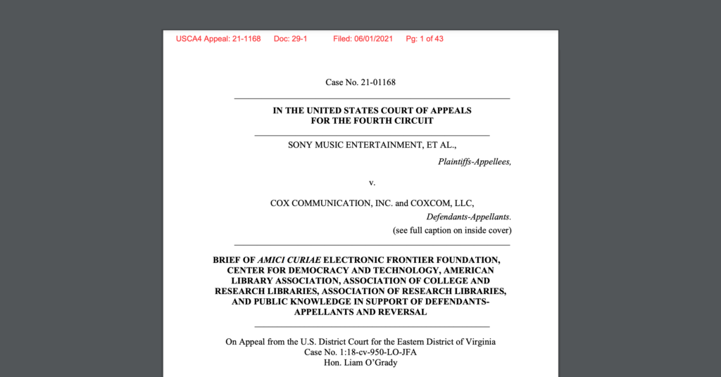 CDT Joins Library & Research Orgs, EFF, and Public Knowledge in Weighing in on the Sony v. Cox case.