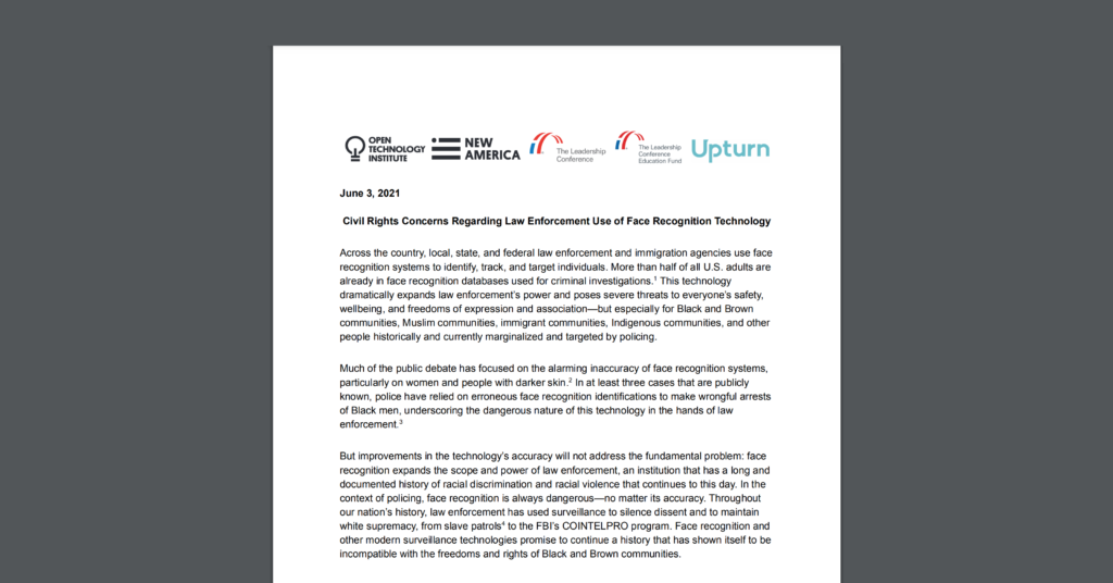 CDT Joins OTI, Upturn, and the Leadership Conference for Civil and Human Rights in Call for Moratorium on Law Enforcement Use of Facial Recognition