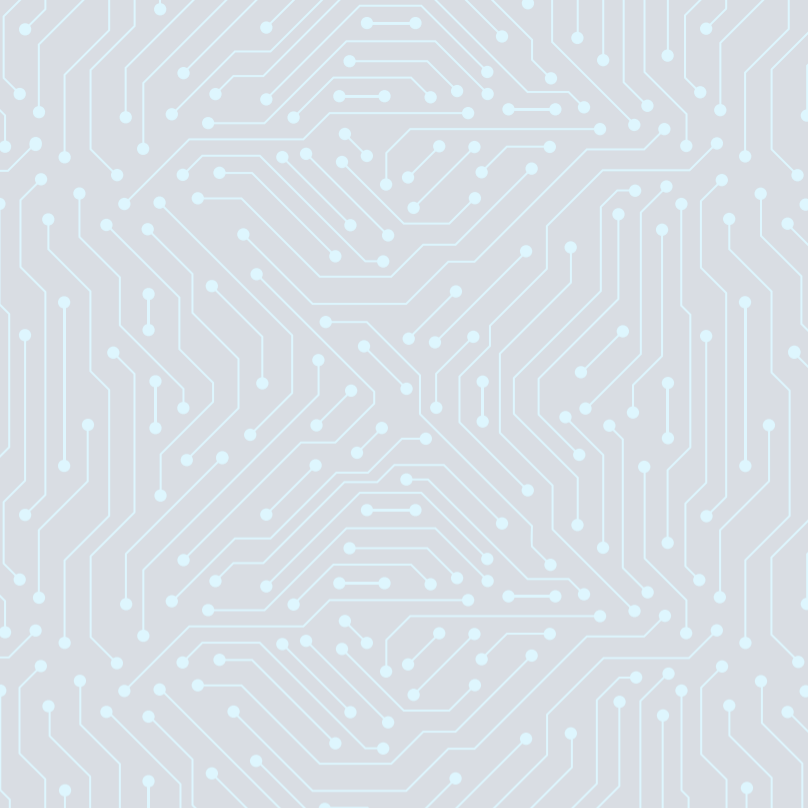A light blue graphic of a circuit, overlaid on a grey background.