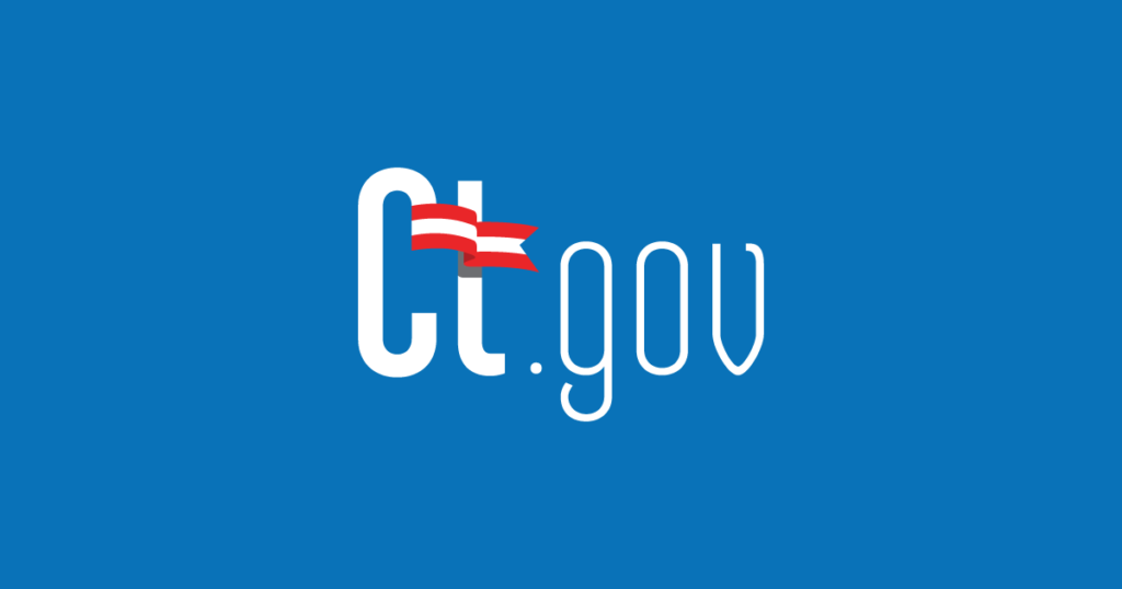 """Image from the official state website of Connecticut. Text reads """"ct.gov"""" with a flag over the """"t""""."""