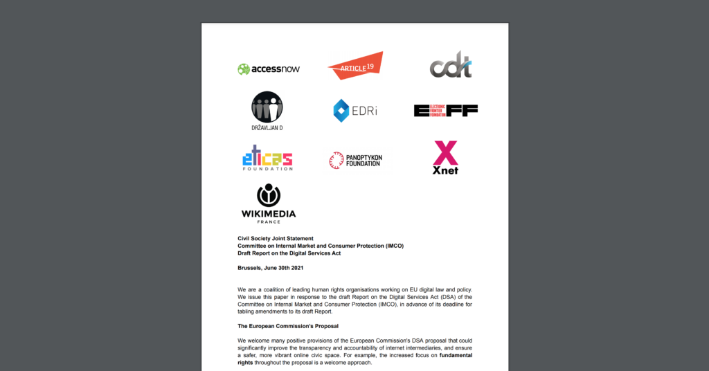Screenshot of CDT Europe's joint civil society statement urging the IMCO Committee to uphold fundamental rights in the DSA. Ten organizational logos are displayed on top of a white background.