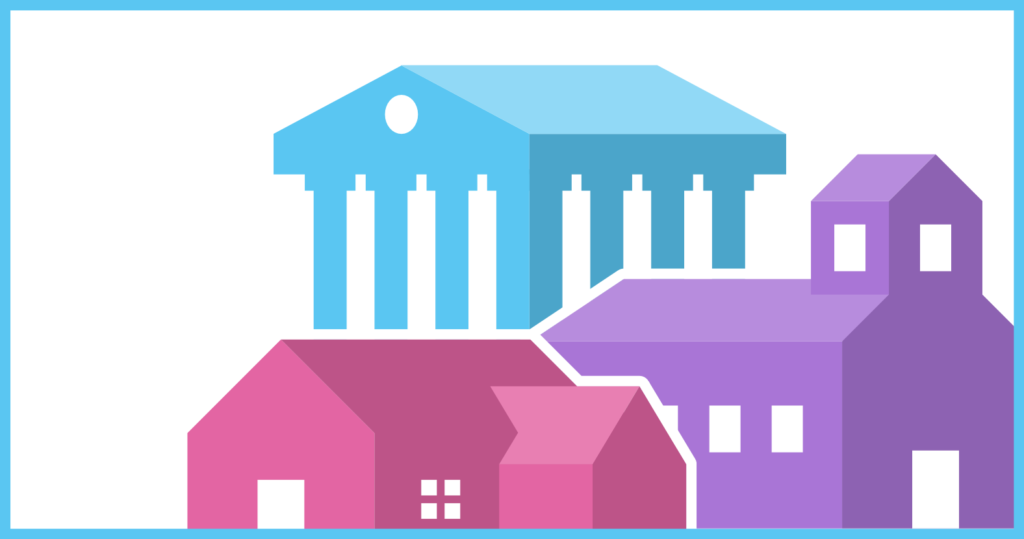 A close-up image of the collection of symbols used by CDT to represent it's Equity in Civic Technology project. The image includes a blue building, a purple school, and a soft red home against a white background.