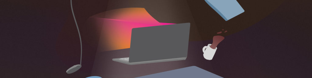 """Graphic from the cover of CDT's report, entitled """"Warning: Bossware May Be Hazardous to Your Health."""" A close-up of a grey computer levitating above a desk and omitting an ominous orange and pink light, on a dark grainy background."""