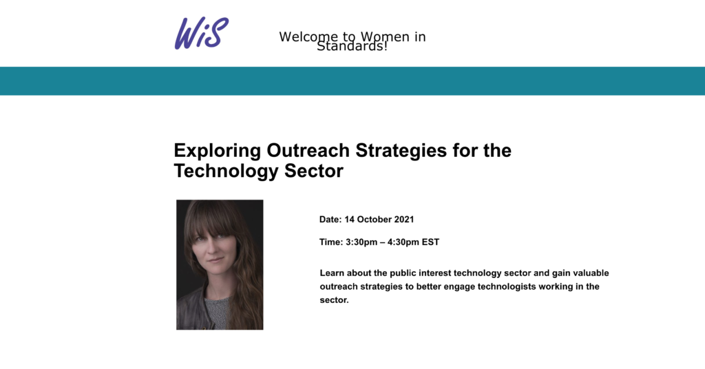"""CDT CTO Mallory Knodel joins the Women in Standards event, entitled """"Exploring Outreach Strategies for the Technology Sector."""" Event on October 14, 2021 at 3:30 PM ET."""
