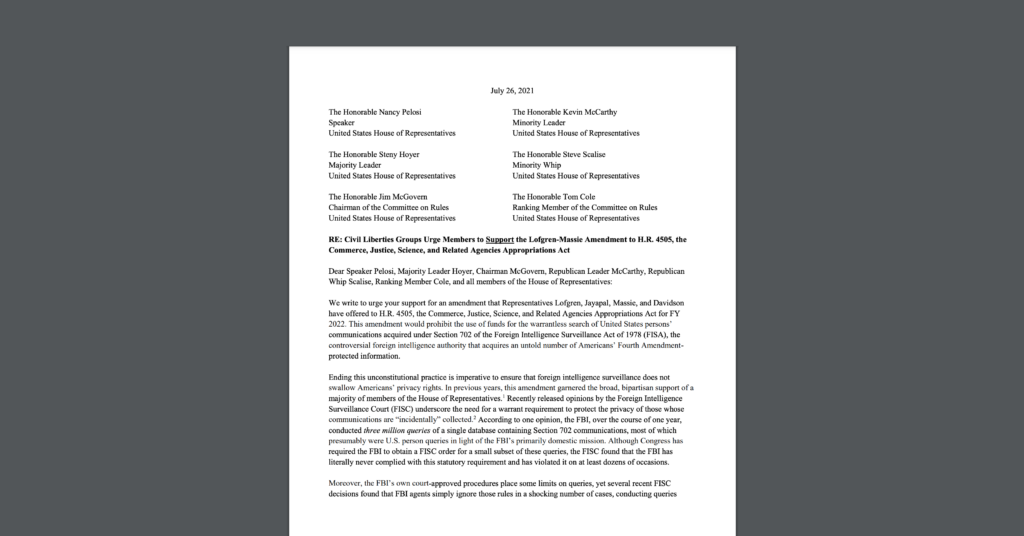 Screenshot of open letter CDT joined - alongside EFF, Demand Progress, and two dozen others - urging Congress to support an amendment that would end Section 702 warrantless backdoor searches. White document on dark grey background.