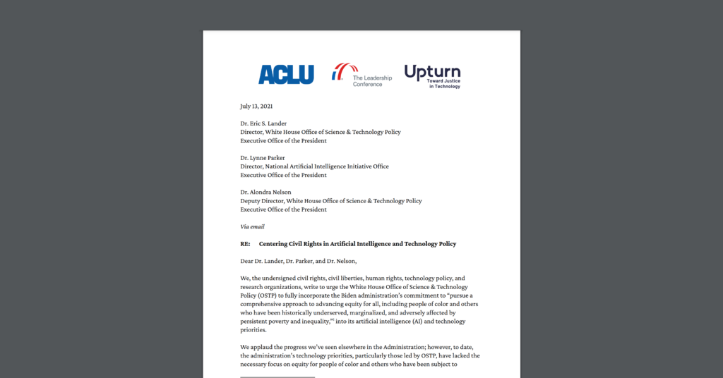 Screenshot of an open letter CDT joined, urging the White House OSTP to make civil rights a top technology priority across hiring, credit, and housing. White document on dark grey background, with organizational logos of ACLU, the Leadership Conference, and Upturn at the top.
