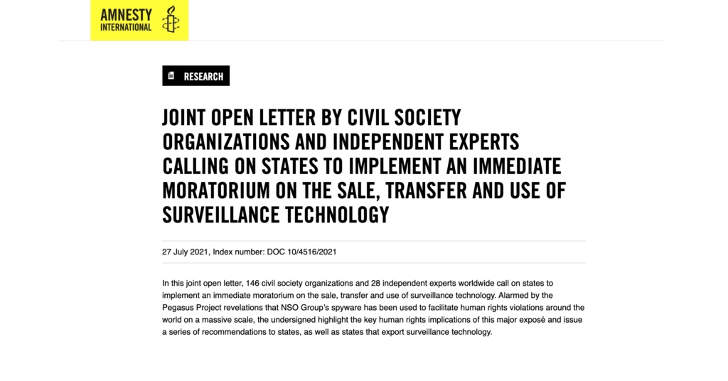 Screenshot of an open letter CDT signed, led by Amnesty International and Access Now, calling for a moratorium on the sale, transfer, and use of surveillance technology. Black bold text on a white background, with a bright yellow Amnesty logo.