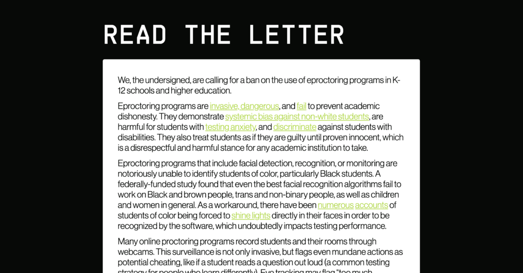 Screen shot of the open letter from Fight for the Future and other civil rights and youth advocacy orgs, calling on schools to ban eproctoring programs.