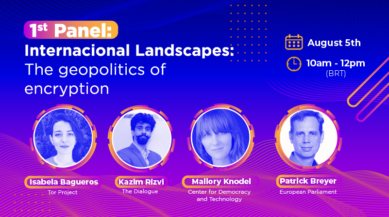 """Graphic for an event from the Law and Technology Research Institute of Recife (IP.rec), entitled """"Encryption, Policy and Fundamental Rights"""". Gathering experts from a diversity of regions of the world to discuss the main encryption policies on the horizon. Blue and purple image with event details and speaker headshots in white."""