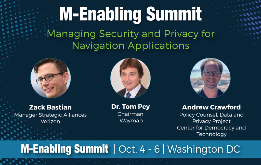 """This is an event graphic for a panel at the 2021 M-Enabling Summit Conference, entitled """"Managing Security and Privacy for Navigation Applications."""" Dark blue background with circular headshots and white and green text."""