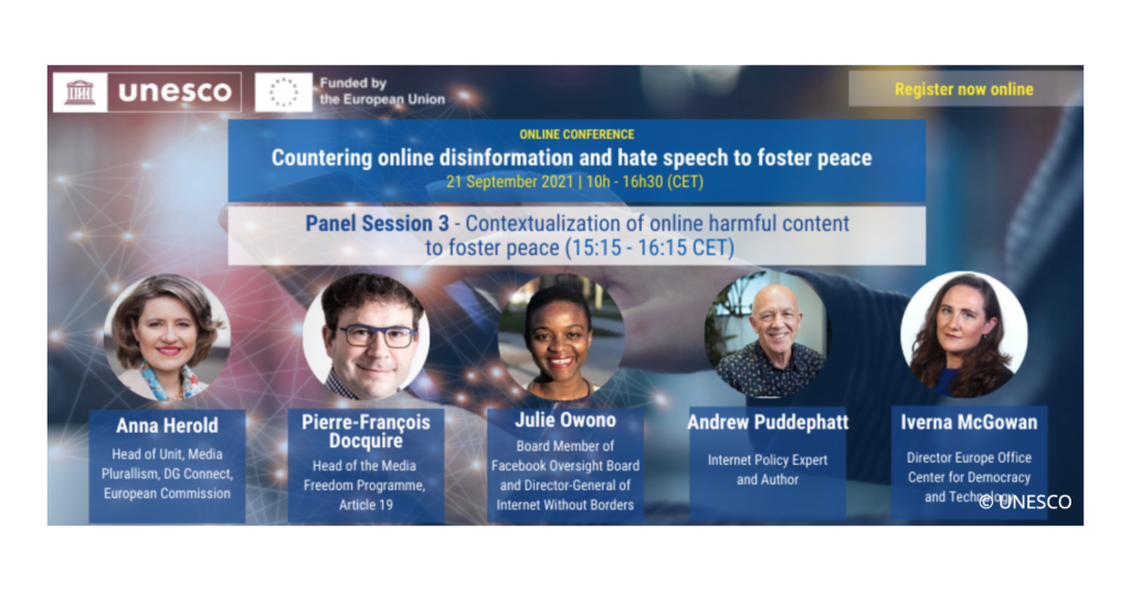 """Graphic for a UNESCO event, entitled""""Countering online disinformation and hate speech to foster peace."""" CDT Europe's Iverna McGowan will be a speaker."""