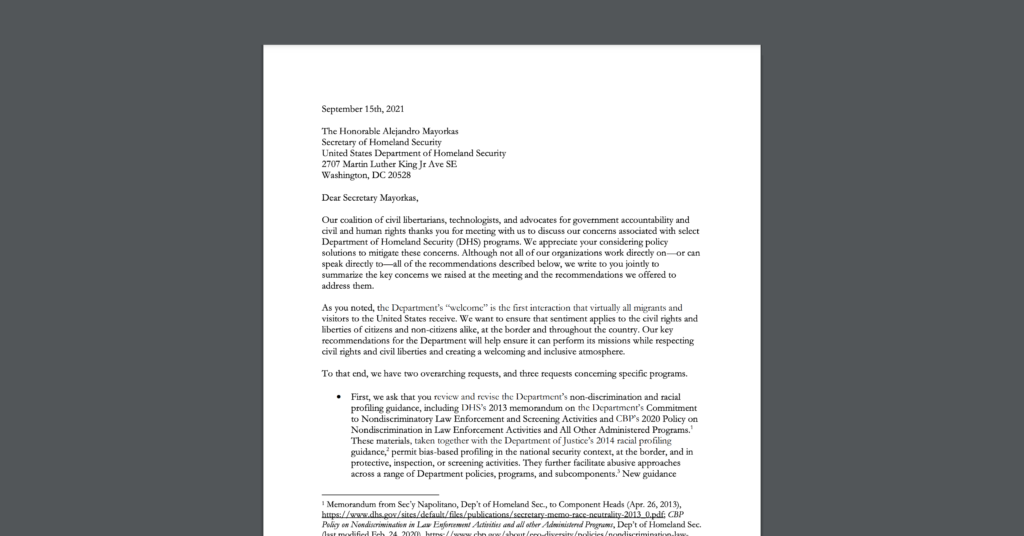 CDT joined a sign-on letter, alongside 20+ civil liberties and civil rights groups, urging the US Department of Homeland Security to end its collection of social media identifiers and social media content. White document on dark grey background.