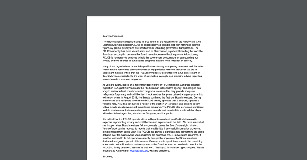 Screenshot of a sign-on letter CDT joined, urging President Biden to appoint members to the Privacy and Civil Liberties Oversight Board (PCLOB). White document on a dark grey background.