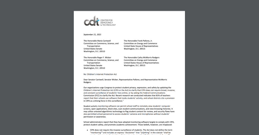 CDT letter, along with a coalition of education and civil rights advocates, urging Congress to protect student privacy. White document on a grey background.
