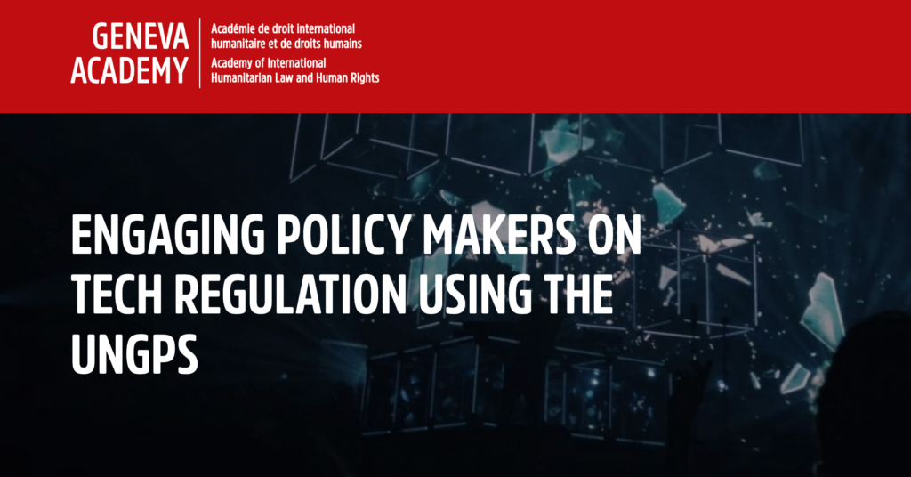 CDT Europe partners with the UN Human Rights B-Tech Project and Geneva Academy to Explore Human Rights-Based Approach to Tech Regulation and EU Digital Services Act. Red and dark blue background with white text.