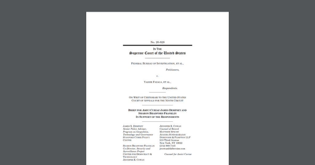 """CDTers and former government officials Jim Dempsey and Sharon Bradford Franklin file an amicus brief in the U.S. Supreme Court, in the case """"FBI v. Fazaga."""" White document on dark grey background."""