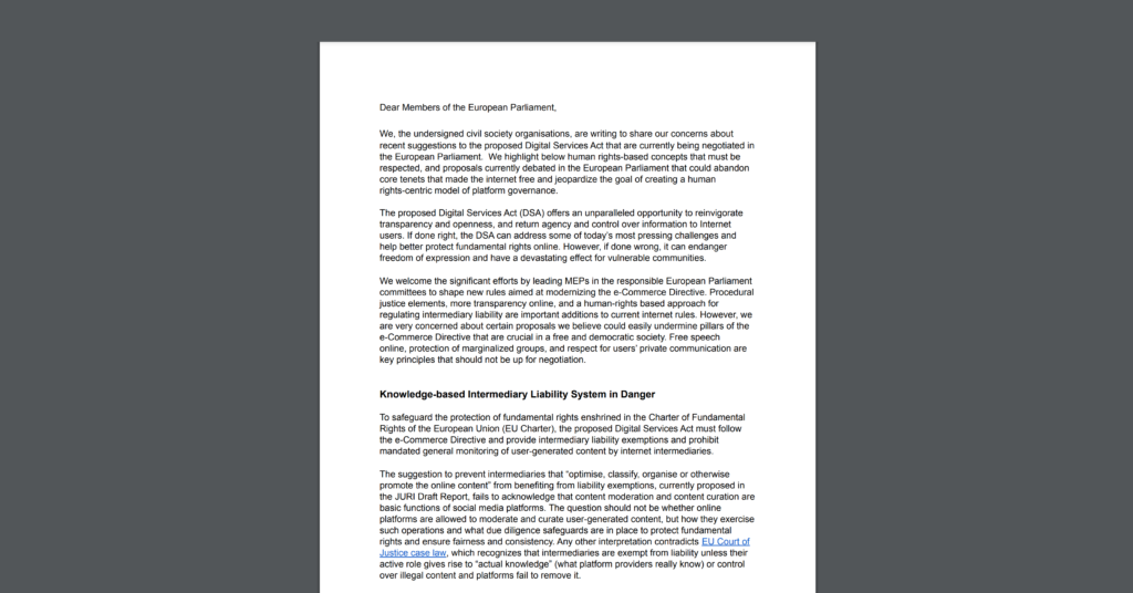 CDT Europe joins EFF & Access Now in signing onto an open letter, urging the European Parliament to address the negative impacts proposed measures on the right to freedom of expression & opinion. White document on a dark grey background.