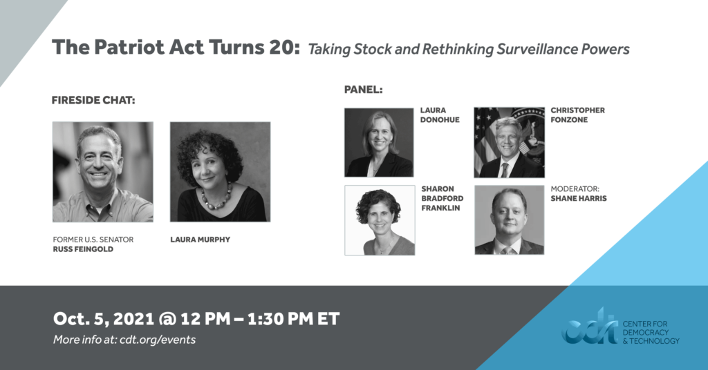 """Graphic for a CDT event entitled """"The Patriot Act Turns 20: Taking Stock and Rethinking Surveillance Powers."""" Event on October 5, 2021. More info at: cdt.org/events. White and dark grey text on dark grey and white backgrounds. Headshots of the event's speakers."""
