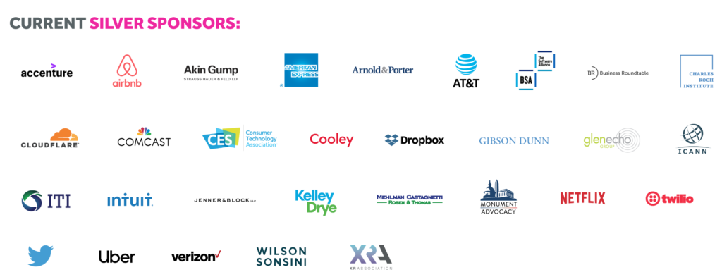 These are CDT's Silver level sponsors for our 2021 Tech Prom. Image includes various logos on a white background.