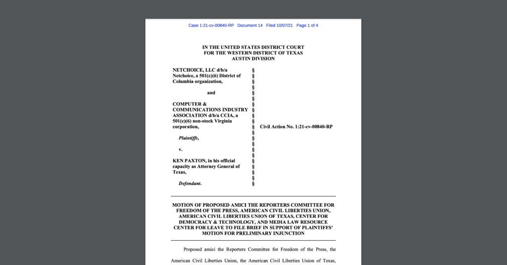 CDT joined an amicus brief in the case entitled Netchoice v. Paxton. White document on a dark grey background.