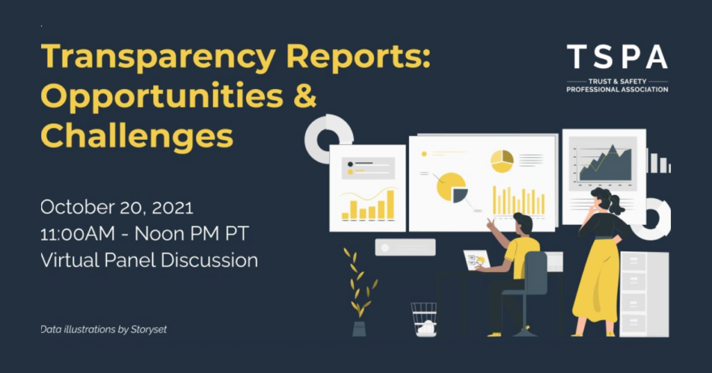 """Graphic for a TSPA event, entitled """"Transparency Reports: Opportunities & Challenges."""" Yellow + white text on a dark blue background."""